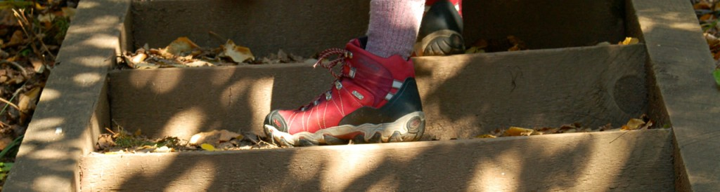 hiking boot on the trail