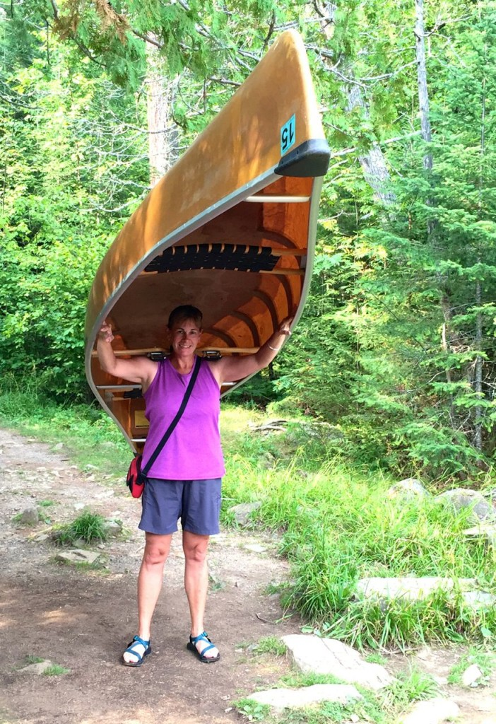 Portaging a canoe BWCA style