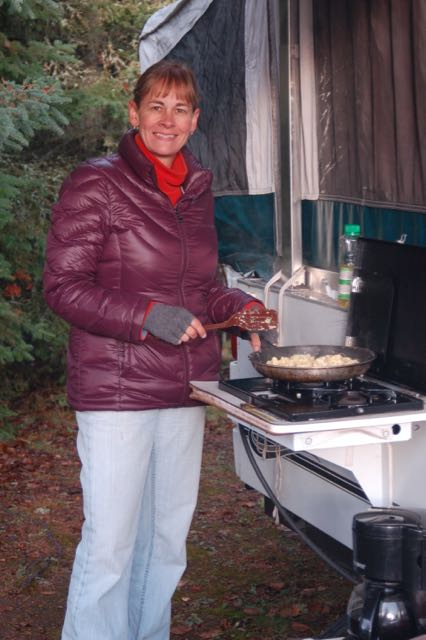 cooking while fall camping