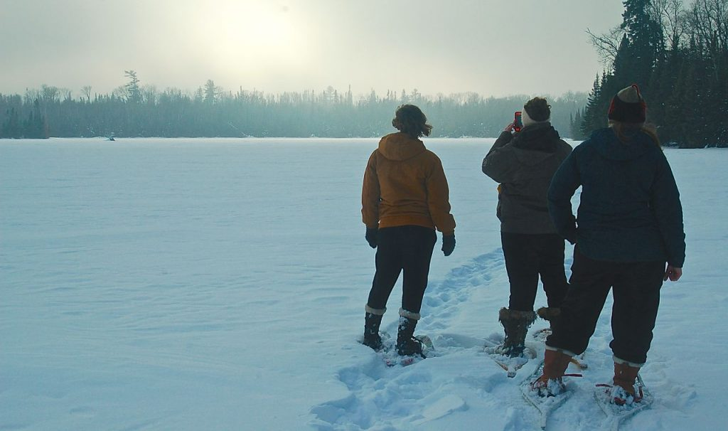 snowshoeing in the boundary waters
