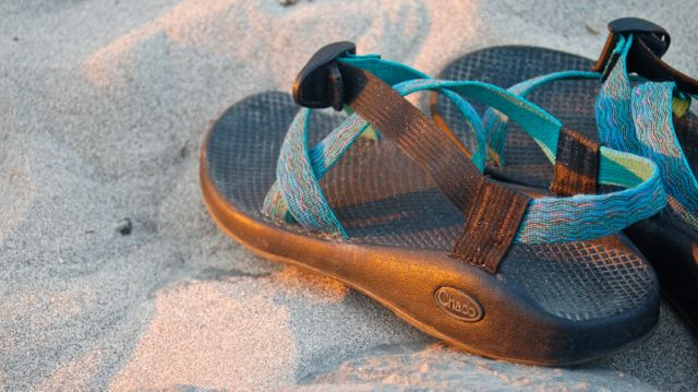 chacos on the beach