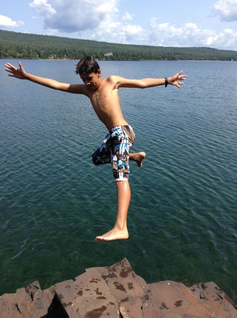 risk-taking—jumping into frigid lake superior!
