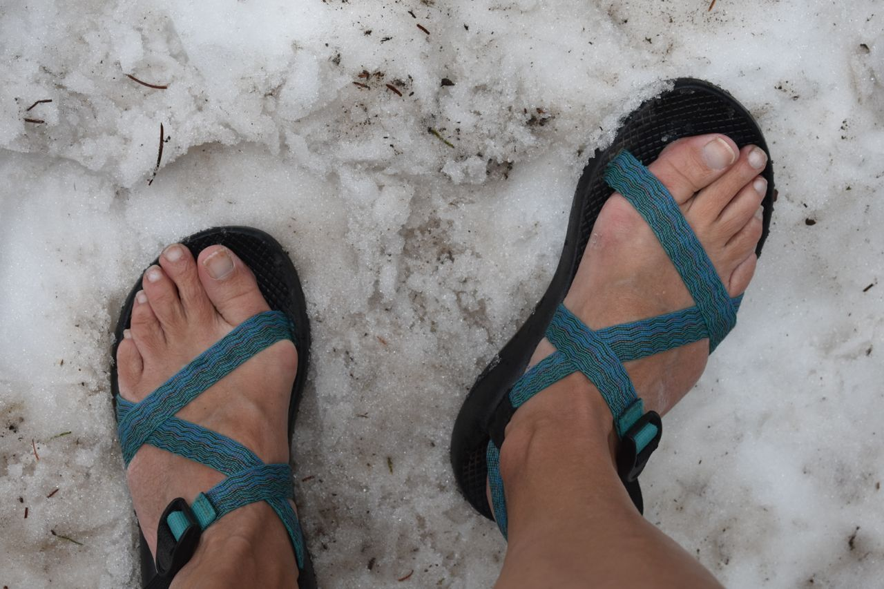 chacos in snow