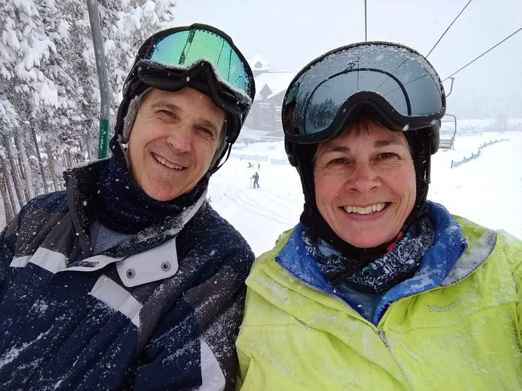 sharon & nick skiing