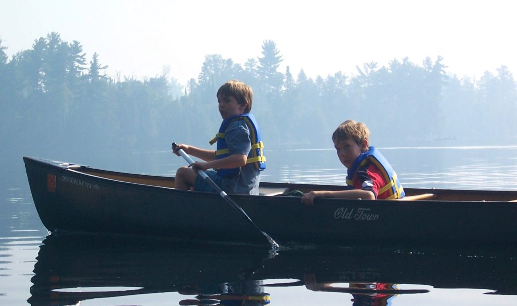 little boys canoeing